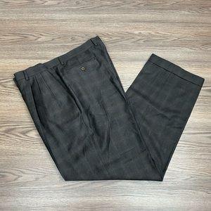 Zanella Brown & Gold Plaid Pants 40